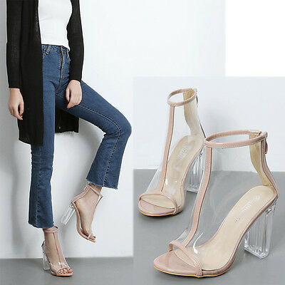 Transparent Clear PeepToe Lucite Block Chunky High Heel Women Ankle Boot Booties