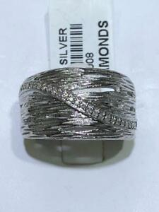 Platinum Sterling Silver Genuine Diamonds Pave Wide Cable Design Band Ring Sz7