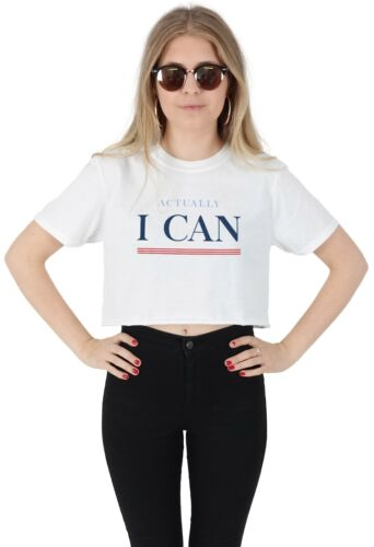 Actually I Can Crop Top Shirt Tee Cropped Fashion Blogger Feminist Girl Power