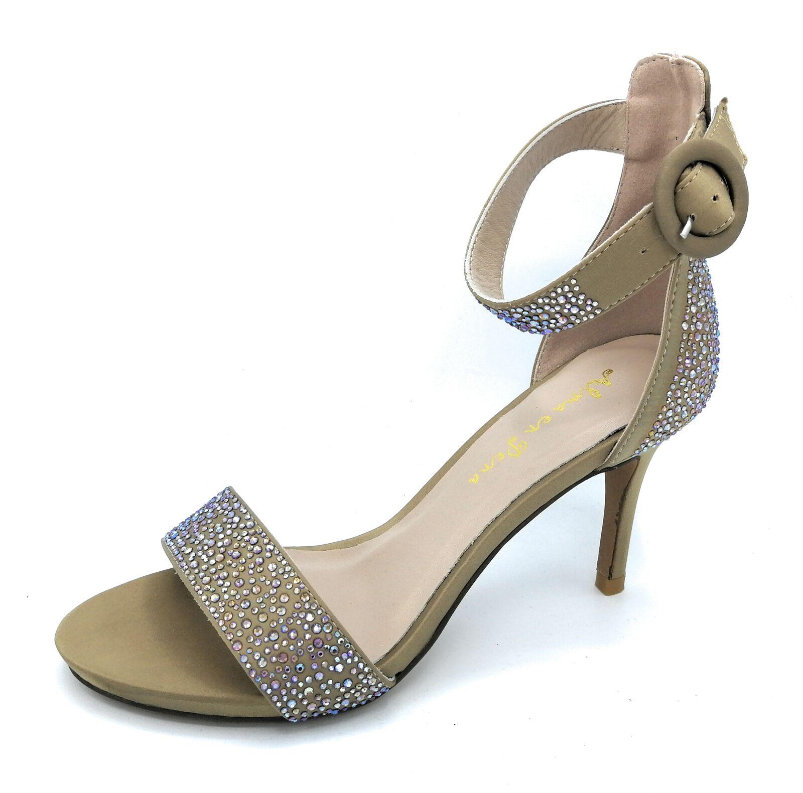 Alma en Pena V18242 Sandale Avec Bride Double Cheville Satin Bronze Strass T.7cm