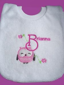 Personalised-Baby-Bib-Owl-Any-Name-Gift-New-Baby-Twins-Naming-Day-Creche