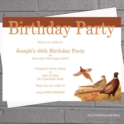 12 x Mens Pheasant Shooting Hunting Birthday Party InvitationsH0054