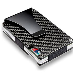 Slim-Credit-Card-Holder-RFID-Blocking-Metal-Wallet-Purse-Carbon-Fiber-Money-Clip
