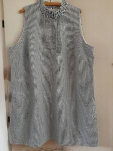damen kleid gr.52 blau weiß gestreift rüschen stehkragen