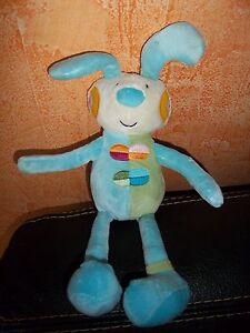 Doudou Bawi Peluche Lapin Grelot Bleu et Vert 100 % neuf