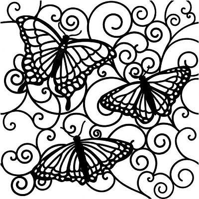 Stencil Sheet BUTTERFLIES Reverse 6 x 6