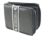 New Mens Bifold Zipper Around Leather Wallet Secure Multi Pockets Black Billfold
