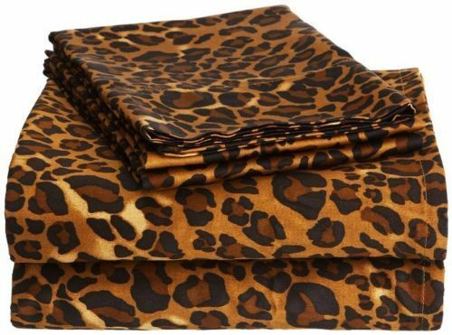 Fitted Sheet & 2 Pillowcase Leopard Print  100% Cotton 800 TC All Size ---