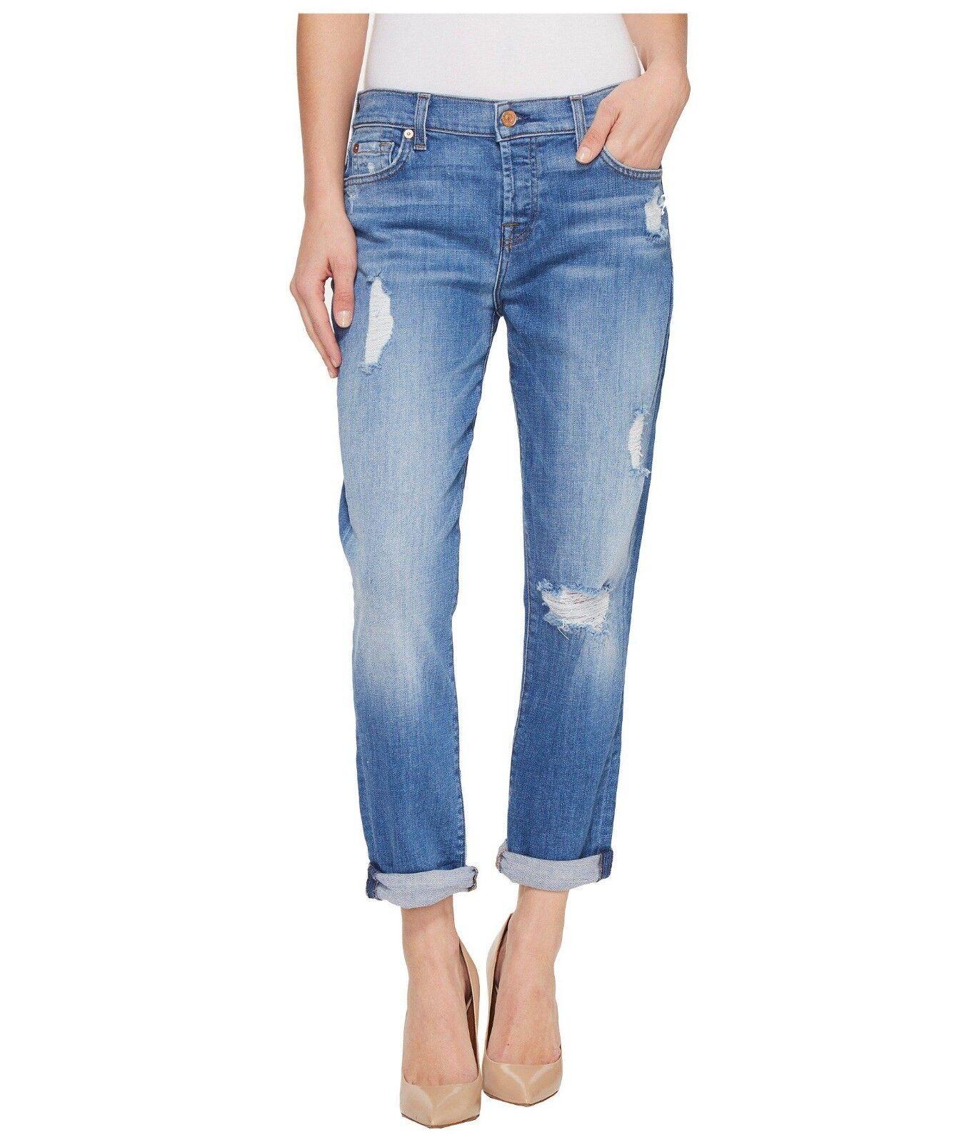 7 For All Mankind JOSEFINA Destroyed Boyfriend Jeans Adelaide Bright bluee 26 NWT