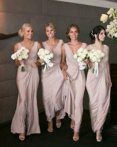 Details About Chiffon Long A Line Bridesmaid Dresses V Neck Simple Wedding Guest Dress Custom