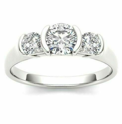 3 Stone Half Bezel White Moissanite Engagement Ring 925 Sterling Silver 2.00 Ct