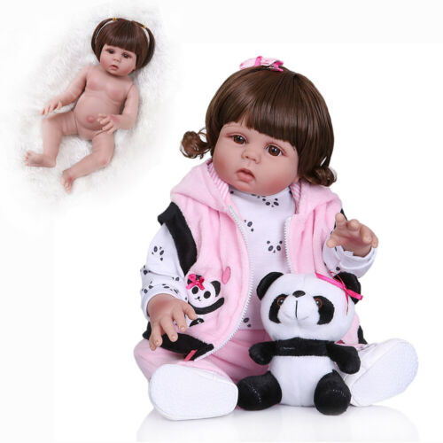 """18/"""" Handmade Dolls Reborn Baby Silicone Full Body Girls Dolls With Outfits Girls"""