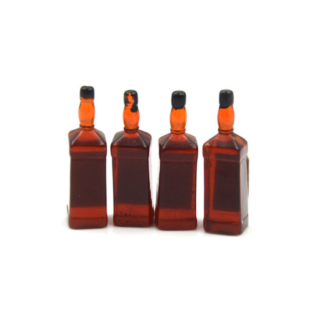 4X 1//6 Scale Dollhouse Miniature Drink Whisky Wine Bottles Model Pretend PlPLUS