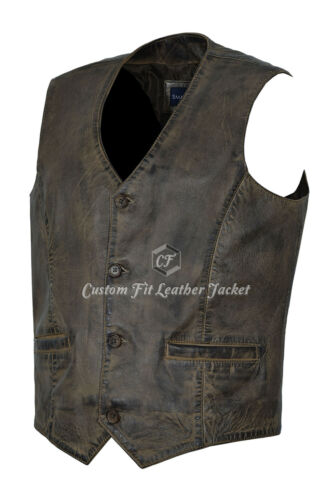 5226 Fashion Soft uomo Party Brown da pelle Napa 100 Real Gilet Dirty in q7Pf8f