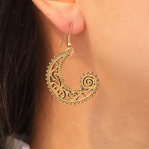 Gypsy Fish Hoop Spiral Moon Earrings Women Girls African Tribal Ethnic