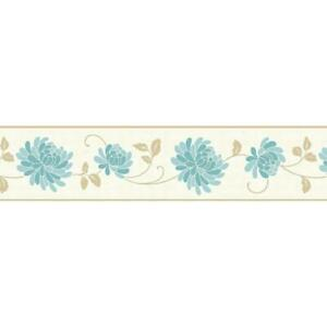 Teal Cream Gold Metallic Floral Wallpaper Border Flowers Fine