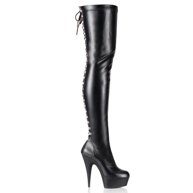 Pleaser Delight-3063 Over The Knee Thigh High Up Stiefel Platform Heels Lace Up High Zip fb987b
