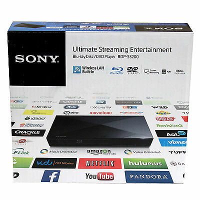 Sony BDP-S3200 Blu-ray & DVD Disc Player with Remote & Wi-Fi BDPS3200 In Box VG