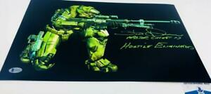 Steve-Downes-signed-Master-Chief-HALO-11x17-METALLIC-photo-BAS-M62127