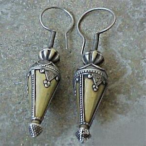 Vintage-925-Sliver-Cone-Earrings-Ear-Hook-Drop-Dangle-Women-Party-Jewelry-Gift