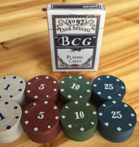 Set Kit Carte Da Poker 24 Fiches Chips Fish Texas Hold/'em Giochi Di Carte dfh