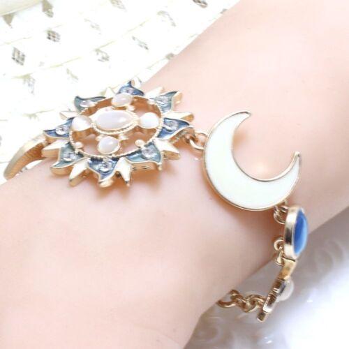 Unique chaîne Sun Moon Star Dieu Résine Golden Bangle Bracelet Bracelet Bijoux