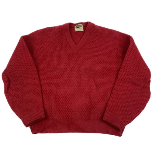 Vintage Welgrume Sportswear 100% Wool Red Sweater