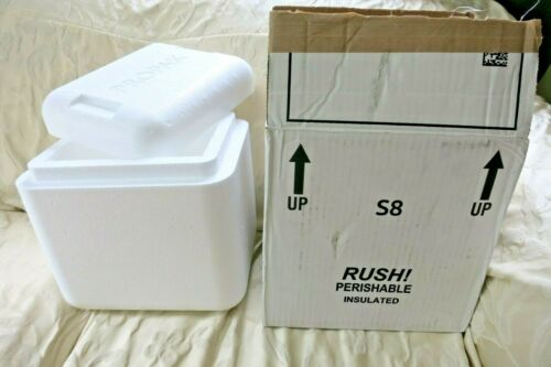 """Styrofoam Insulated Cooler Shipping Container 11/"""" x 11/"""" x 9 /"""" WITH OUTER BOX"""