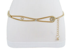 Women Stretch Gold Metal Waistband Bling Party Classy Belt Hip Waist Size S M L
