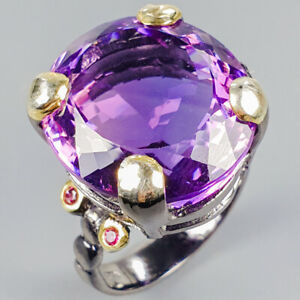 Jewelry-Unique-Set-Natural-Amethyst-925-Sterling-Silver-Ring-Size-10-R118928