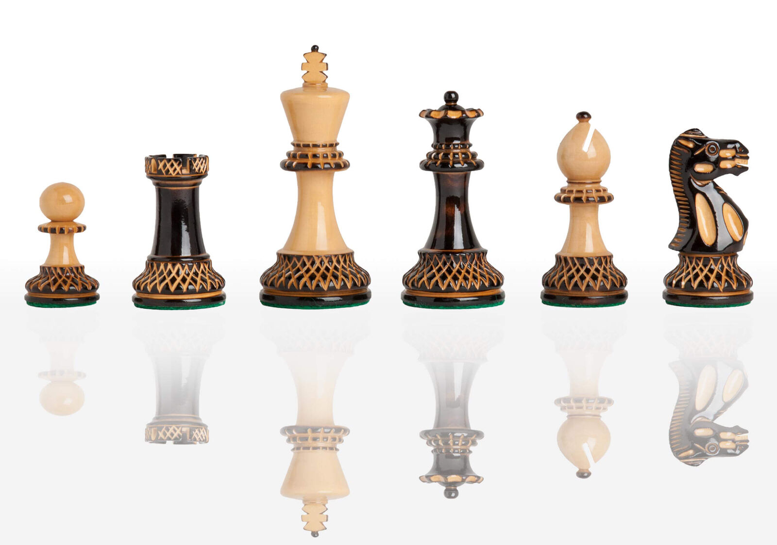 USCF Sales The Burnt Grandmaster Chess Set - Pieces Only - 4.0  King