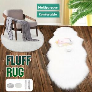 Sheepskin-Rug-Soft-Fluffy-Area-Mat-Chair-Sofa-Bedroom-Floor-Carpet-White