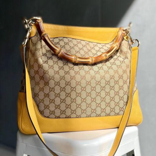 Gucci GG Canvas Diana Bamboo Shoulder Bag - Beige… - image 1