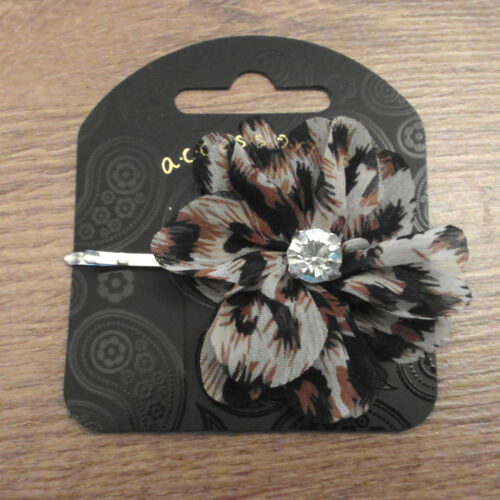 Brown Flower With Crystal Detail Hair Pin RRP £2.50 - Brand New With Tags