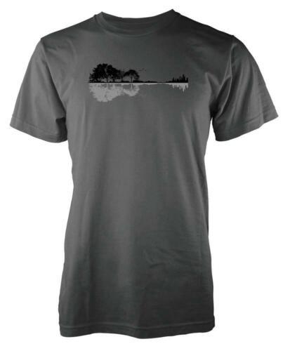 Guitare PAYSAGE ARBRES EAU réflexion Adulte T Shirt