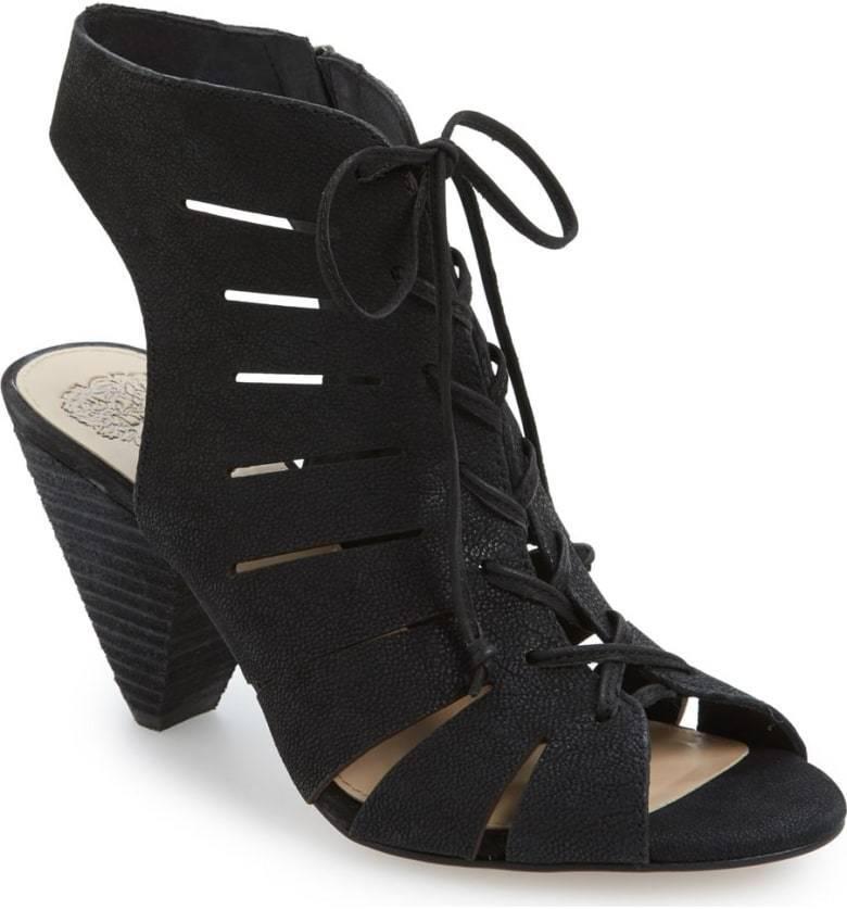 Vince Camuto Estie US 9 Black Bootie Cut Out shoes Sandal Lace Up Open Toe 3644