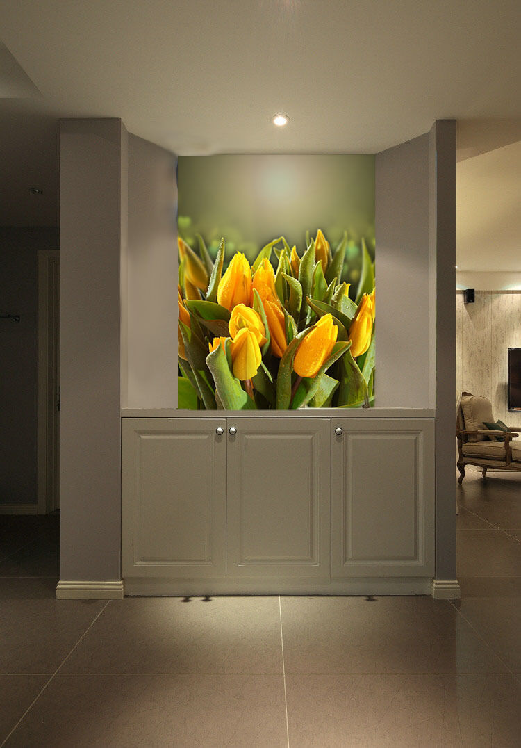 Mega 3D Dewy Yellow Tulip Buds 115Wall Paper Wall Print Decal Wall AJ Wall Paper