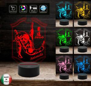 LAMPADA-a-led-7-colori-selezionabili-SPORT-JUDO-personalizzata-con-nome-Idea-reg