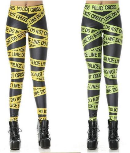 Yellow//Green police line do not cross letters printed legging S-4XL legging