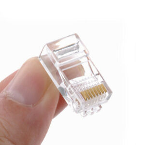 50Pcs Networking RJ45 CAT5E Crystal Network Modular Connector Plug 8P8C