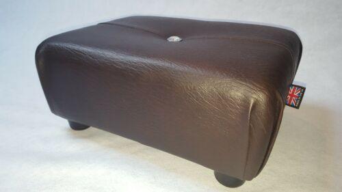 Small Stool Walnut Brown Pouffe Ottoman Faux Leather. Footstool