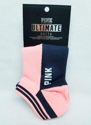 2 PAIRS Victoria/'s Secret Pink PEACH ORANGE Black No-Show Ultimate Ankle Socks