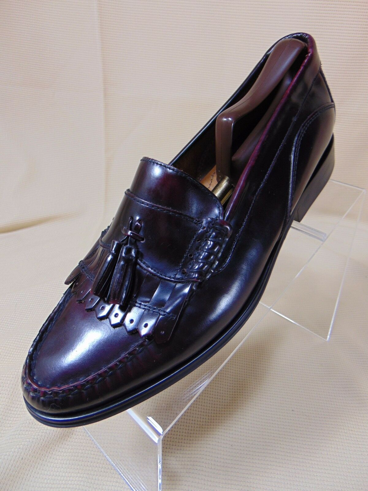 BASS Weejuns Barnett Kiltie Tassel 10.5 Loafer Shoes 10.5 Tassel M Dark Burgundy Brazil 536096