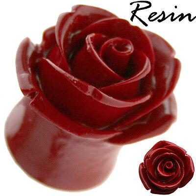 RED RESIN HYBRID TEA ROSE Ear Tunnel Plug