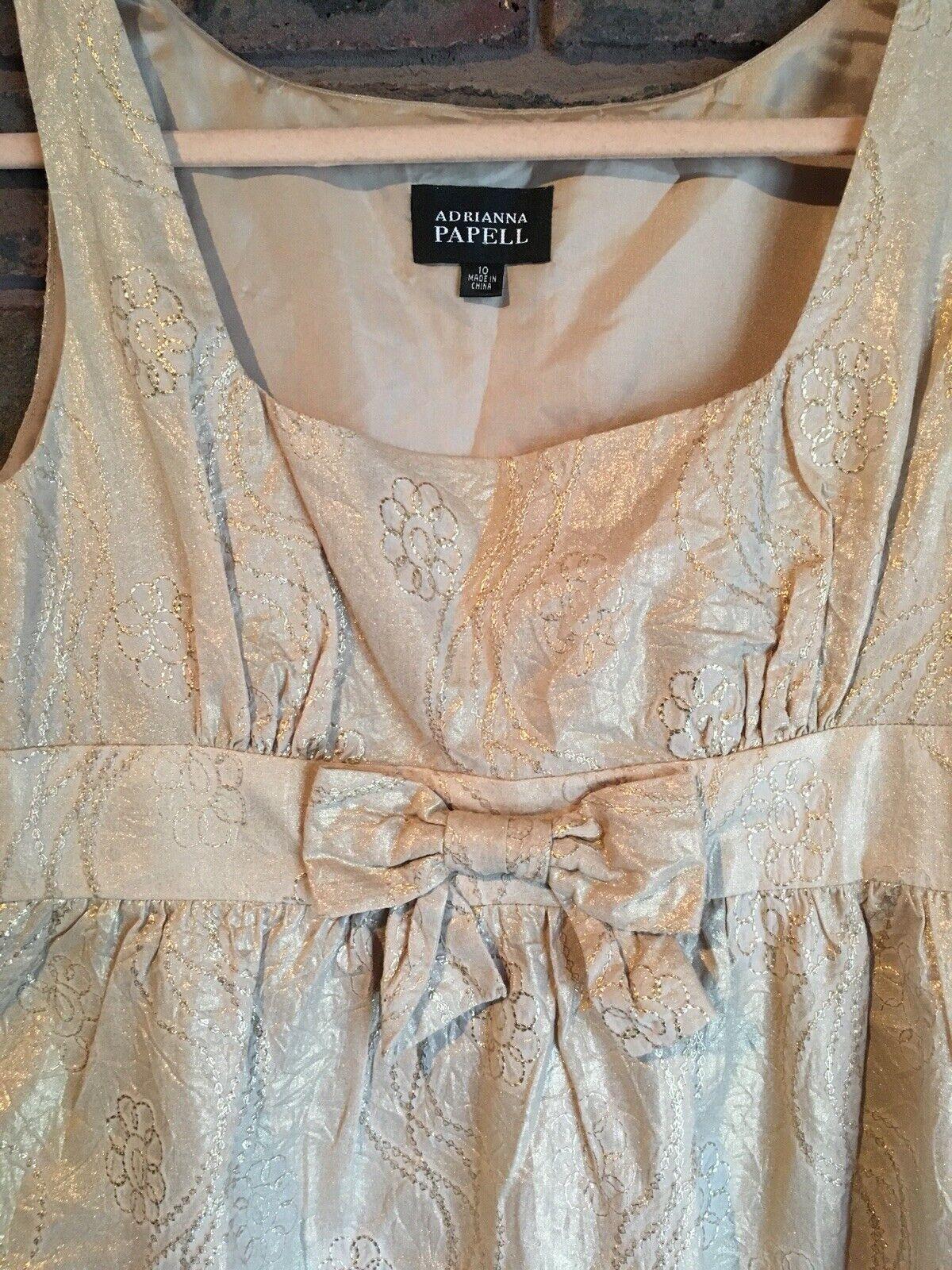 20949676102c NUOVO senza etichette di marca Adrianna Papell DONNA DONNA DONNA TAGLIO  IMPERO oro Vestito US 10 Uk 14 7f5c75