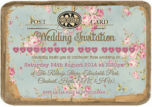 Image Is Loading Personalised Vintage Tea Party Postcard Wedding Invitations Packs