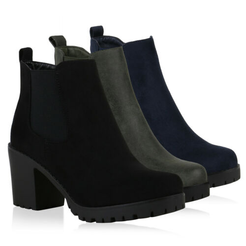 Klassische Damen Stiefeletten Profil Sohle Boots High Heels 820871 Schuhe