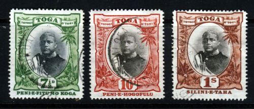 TONGA 1897 A King George II Group 7d. to One Shilling SG 48 to SG 50 VFU