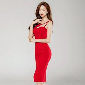 on sale b84e0 a7cca Dettagli su Elegante raffinato vestito abito donna lungo tubino elegante  rosso slim 3610