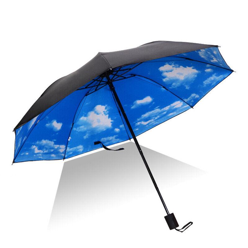 Windproof Umbrella Anti UV Upside Down Folding Handle Reverse Sun Floral Pattern